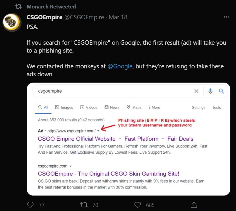 csgoempire fake phishing site
